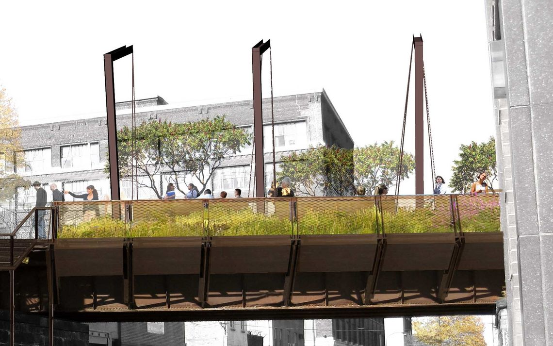viaduct callowhill overpass with planters